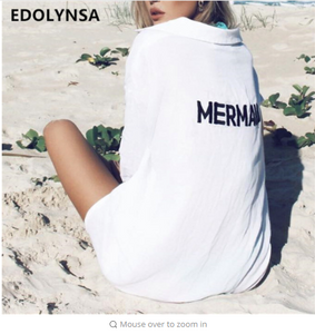 Beach Cover up Letter MERMAID Embroidery Swimwear Robe de Plage Sarong Beach Poncho Beachwear Coverups Saida de Praia #Q324