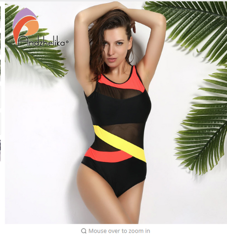 Andzhelika New Sports Swimwear Women Swimsuit Soft Cup Mesh Solid Patchwork Stripe Swim Suit U-Shaped Back Swimsuit
