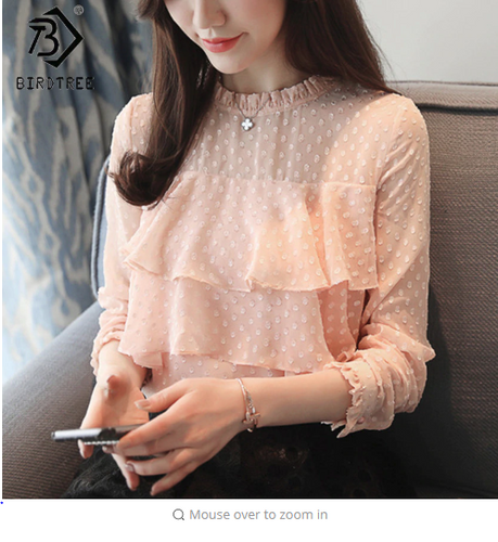Women Fashion 2018 Korean New Elegant Dot Chiffon Blouses Ronud Neck Ruffles Long Sleeve Ladies Casual Tops Pink Blouses T81647A