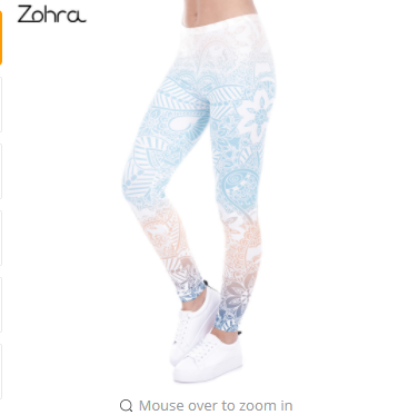 Zohra Brand Hot Leggings Mandala Mint Print Fitness legging High Elasticity Leggins Legins Trouser Pants for women