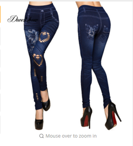 Fashion Slim Women Leggings Faux Denim Jeans Leggings Hole Heart Printing Casual Women Clothing Pencil Pants Plus size