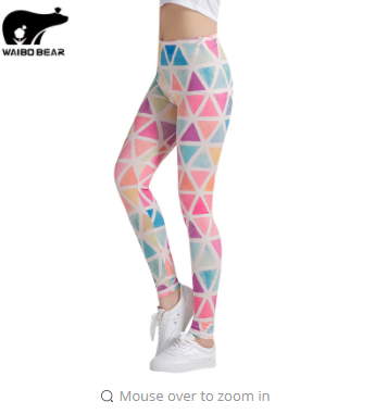 Colorful Traingles Printed Women Leggings Female Leggings Mujer Pants Fitness High Elastic Bodybuilding Trouser WAIBO BEAR
