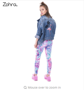 Zohra Spring Fashion Women Legins Exotic Purple Flowers Printing Legging Elegant Cozy High Waist Woman Leggings