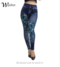 Weljuber Women Leggings  Jeans Leggings Slim Mock Pocket Woman Print Jeggings Ladies Denim Skinny Trousers