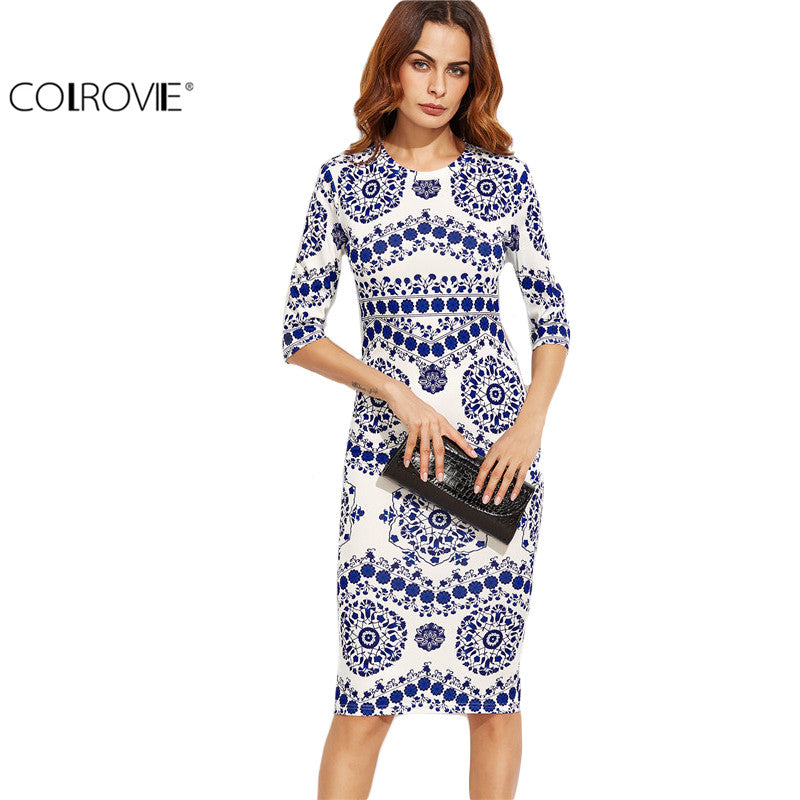 COLROVIE Blue And White Porcelain Print Slim Pencil Dress Office Ladies Work Wear Round Neck 3/4 Sleeve Midi Dress