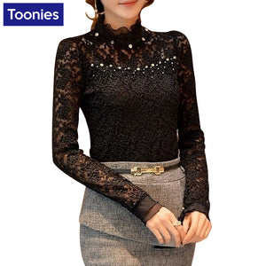 New Fashion Lace Blouse Women Shirts Turtleneck Women Blouses Long Sleeved Blusas Femininas Slim Women Tops Blusa