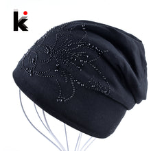 Female Beanie Bonnet Autumn And Winter Caps Hip-hop Cap Flower Rhinestone Hats For Women Beanies Balaclava Womens Skullies