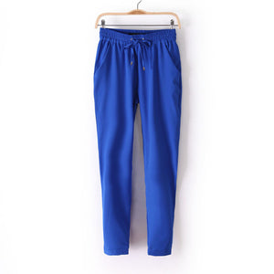 Hot!  Casual Women Chiffon Pants Elastic Waist Solid Color Office OL Pants Summer Slim Lady Pants  AB17