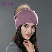 Autumn winter beanies hat unisex knitted wool Skullies casual cap with real raccoon fox fur pompom solid colors ski gorros cap