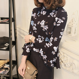 Floral Chiffon Blouse Women Tops Flare Sleeve Shirt Women Ladies Office Blouse Korean Fashion Blusas Chemise Femme