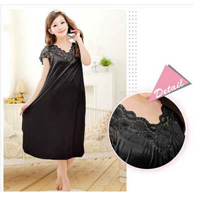 Free shipping women red lace nightdress girls plus size Large size Sleepwear nightgown night dress skirt Y02-4