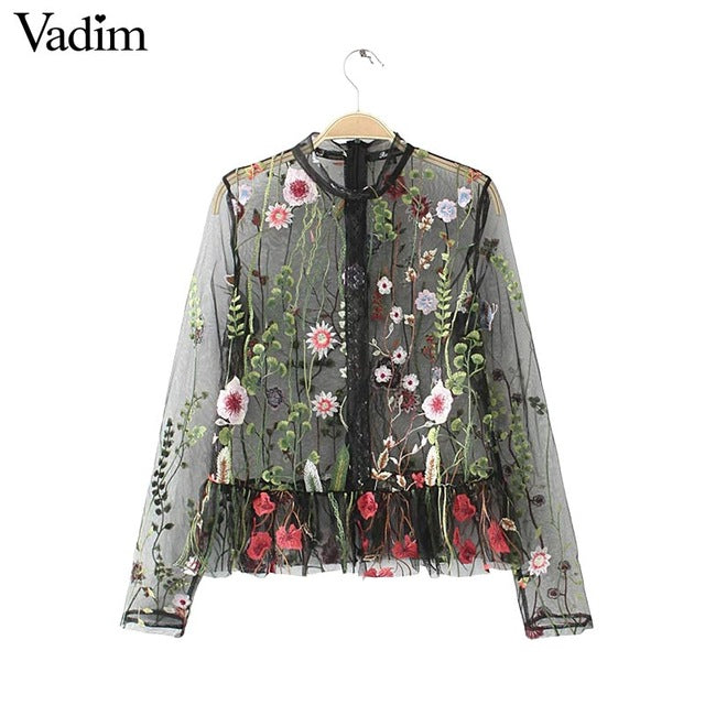 Women sweet flower embroidery mesh shirts transparent long sleeve blouse female stand collar brand tops blusas LT1558
