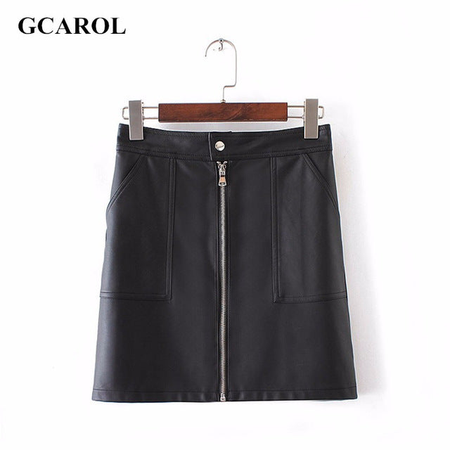 GCAROL Women Zipper Up Faux Leather Skirt Polyester Lining Fashion PU Mini Skirt With Two Pockets High Quality For 4 Season