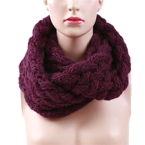 Winter Cable Ring Scarf Women Knitting Infinity Scarves Knitted Warm Neck Circle Scarf bufandas cuellos  KH988544