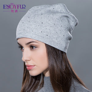 Women's winter hat knitted wool beanies female fashion skullies casual outdoor ski caps thick warm hats for women