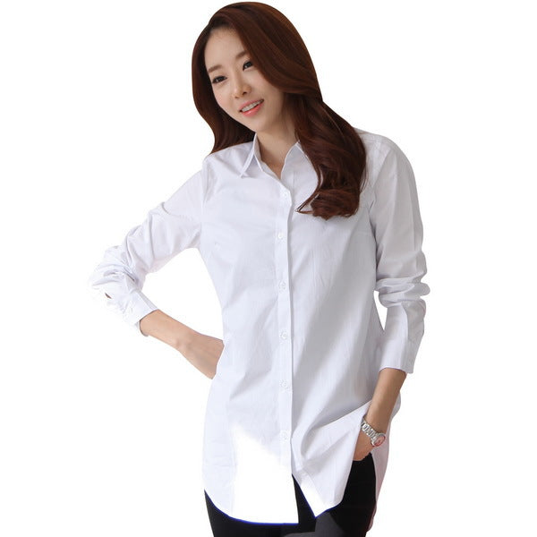 Spring Women Long White Shirts Size S-2XL All-match Good Quality Long Sleeve Lady Casual Cotton Blouse & Tops