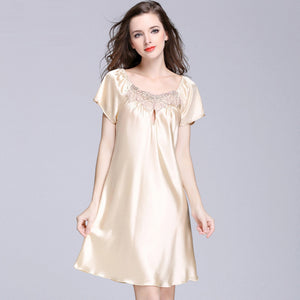 New Sweet Young Women Silk Nightgown Printed Fashion Knee-length Girl Sleepwear Summer Ladies Sleepshirts Pink,Camel,Blue
