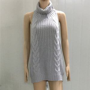 Summer New Turtleneck Sleeveless Long Virgin Killer Sweater Japanes Knitted Sexy backless Women Sweaters And Pullovers WM03