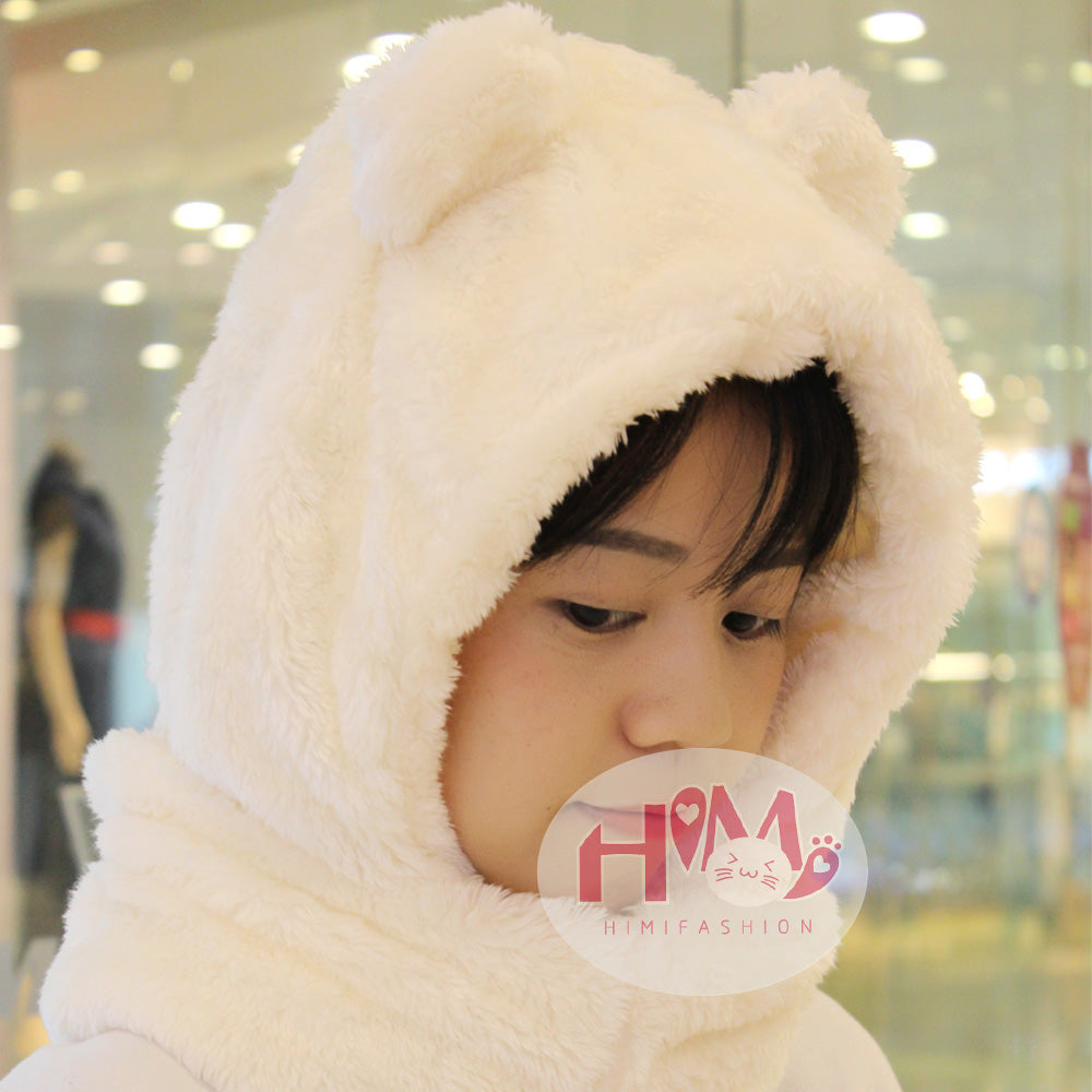 New Fashion Cotton Warm Animal Hoodies Hat Scarf White Fluffy Warm One Piece Set Cute Bear Winter Caps For Women Girls