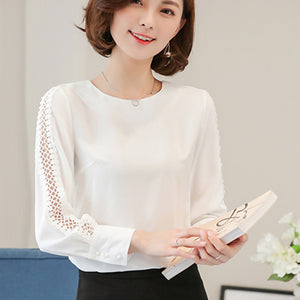 Blue Red White Chiffon Blouse Women  Long Sleeve Ladies Office Shirts Korean Fashion Lace Hollow Out Women Top Blouses