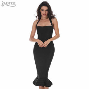 New Women Party Bodycon Bandage Dress Khaki Wine Red Off Shoulder Halter Fishtail Midi Club Backless summer Dresses