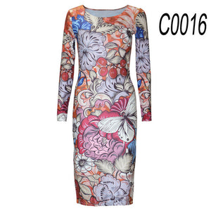 New Party Dresses Long-sleeved Dresses Slim O-neck Retro Print celebrity Women Dress Casual Dress Plus Size