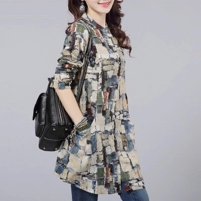 Women Shirt  Linen Women Tops Long Sleeve Shirt Women Tribal Print Blouses Blusas Long Tunic Tops Female Clothing