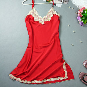 Mini Nightgowns Women Embroidered Nightwear Sleepwear V-Neck Babydolls Summer Style Silk Lingerie Lace Dress Robe Pyjamas