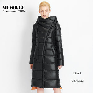 Fashionable Coat Jacket Women's Hooded Warm Parkas Bio Fluff Parka Coat Hight Quality Female MIEGOFCE New Winter Collection Hot