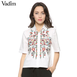 women sweet floral embroidery shirts cotton white vintage totem retro short sleeve casual blouse ladies summer tops blusas DT841
