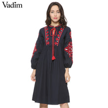 Women vintage floral embroidery dress drawstring tie tassels long sleeve Faldas festa casual brand loose retro dresses QZ2611