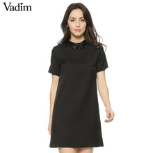 Women Faux PU leather collar black dress short sleeve summer turn-down collar A-line mini dress Vestidos casual dress QZ2292