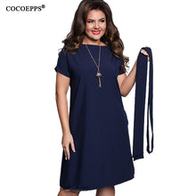 COCOEPPS Elegant Casual women blue dresses big sizes NEW  plus size women clothing Summer style o-neck bodycon Chiffon Dress