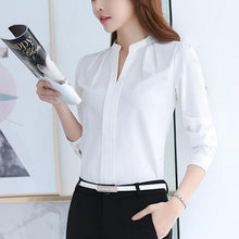 Spring Women Tops Long Sleeve Casual Chiffon Blouse Female V-Neck Work Wear Solid Color White Office Shirts For Women