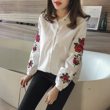 Women Blouses Ladies Floral Embroidery Blouse Lantern Long Sleeve Fashion Casual Shirt Women Camisas Femininas Women Tops White