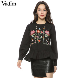 Women vintage flower embroidery shirts long sleeve ruffles pleated o neck blouse ladies casual tops blusas LT1400