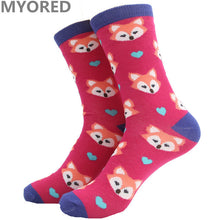 MYORED cartoon squirrel fox owl cute lovely animal cotton short socks women girls lady female crew sock candy color