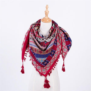 Hot!  New Fashion Woman Scarf Square Scarves Tassel Printed Women Wraps Autumn Ladies Shawls