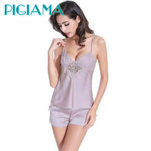 PIGIAMA Women Pajamas Pyjama Set Nightsuit Lace Silk Straps Bathrobe Women Sleepwear Shorts Pijamas Homewear