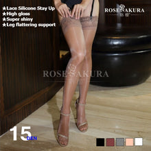 15D Womens Lace Top Silicone Stay Up shine thigh high socks ,knee high socks,oil flashing Pantyhose overal medias lingerie