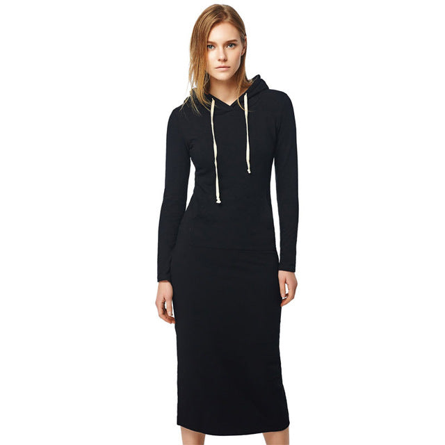 Oukytha  New  Casual Long A-line Ankle-length Dress Hooded Pockets Cotton Long Sleeves Lady Thick Dress M15322
