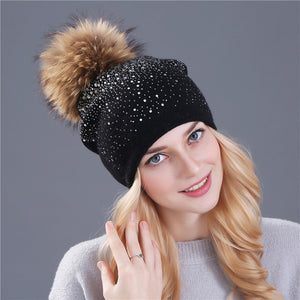 [Xthree] women winter beanie hat Rabbit fur wool knitted hat the female of the mink pom pom Shining Rhinestone hats for women