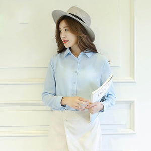 spring new hot solid color lapel long sleeve shirts Plus Size shirt chiffon blouse shirt women's casual loose blouses EY8