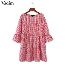 Women oversized pleated plaid dress summer elegant checkered flare sleeve loose casual sweet dresses vestidos QZ2821