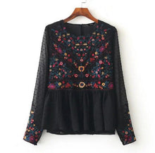Women vintage floral embroidery pleated chiffon shirts transparent dots long sleeve retro blouse casual tops blusas LT1371