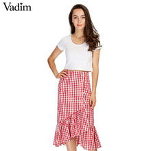 Women sweet ruffles plaid split skirts with lining elastic waist buttons ladies fashion casual mid-calf skirt BSQ555