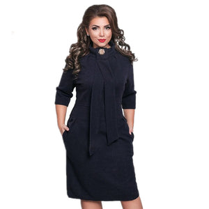 Plus Size Womens Clothing Formal Office Dress Half Sleeve Pencil Knee-Length Jurken Casual Dress Stand Collar 6XL Robe TT2416