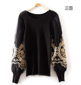 Embroidery Golden Pullover Women Lantern Long Sleeve Womens Jumpers Slim Sweaters Black Sweater Slim Bodycon Tops