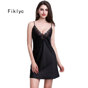 Fiklyc brand women nightwear mini nightgowns tempatation deep v straps skirts free shipping summer faux silk sleepwear hot