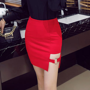 S-5XL Plus Size Black Pencil Skirt Summer  Bodycon High Waist Skirts Women's Faldas Cortas Saia Tight Mini Skirt Red
